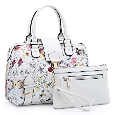 Dasein Floral Barrel Handbags Satchel with Matching Wristlet