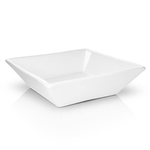 """16"""" x 16"""" Beveled Square White Ceramic Sink Bathroom Vanity- Miligore"""