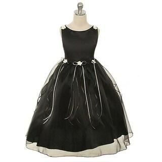 Kids Dream Girls Black Rosebud Organza Flower Girl Dress 8-14