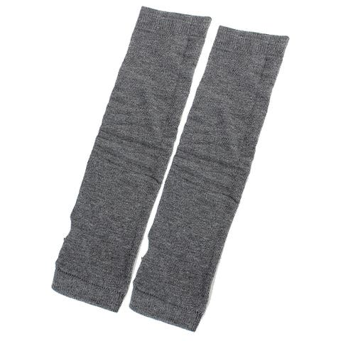 Unique Bargains Lady Girl 2 Pairs Elastic Thumbless Fingerless Comfortable Gloves Dark Gray