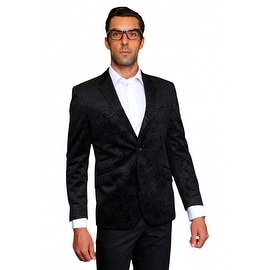 MZV-200 BLACK Men's Manzini Fancy Paisley design Velvet, sport coat
