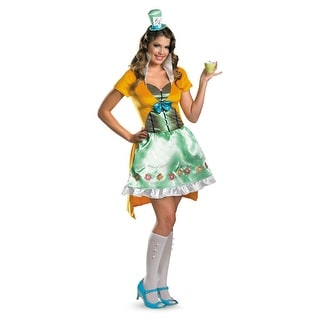 Disguise Disney's Alice in Wonderland Sassy Mad Hatter Adult Costume - Green/Yellow