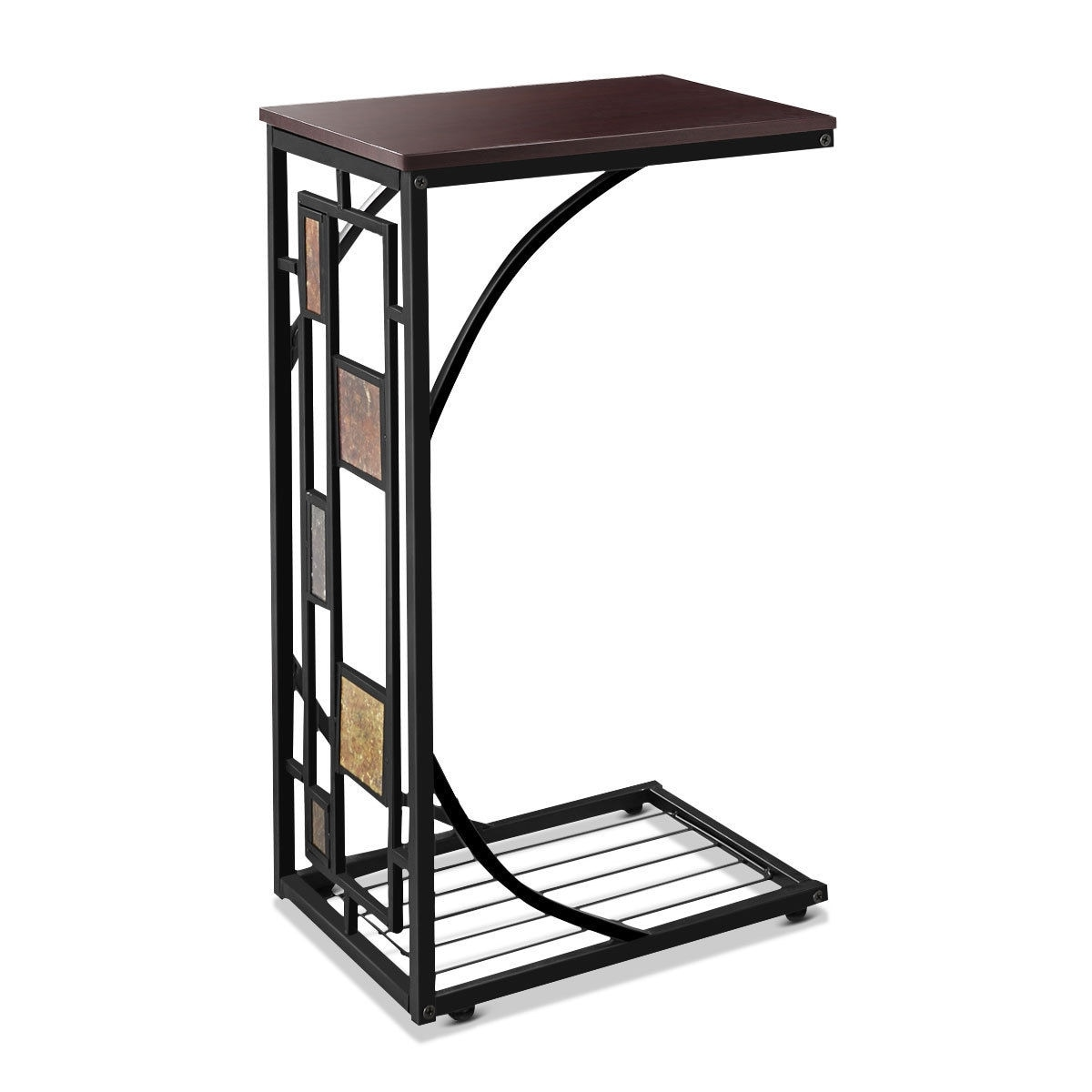 - L Shaped Coffee Tray Sofa Side End Table Lap Stand TV Snack
