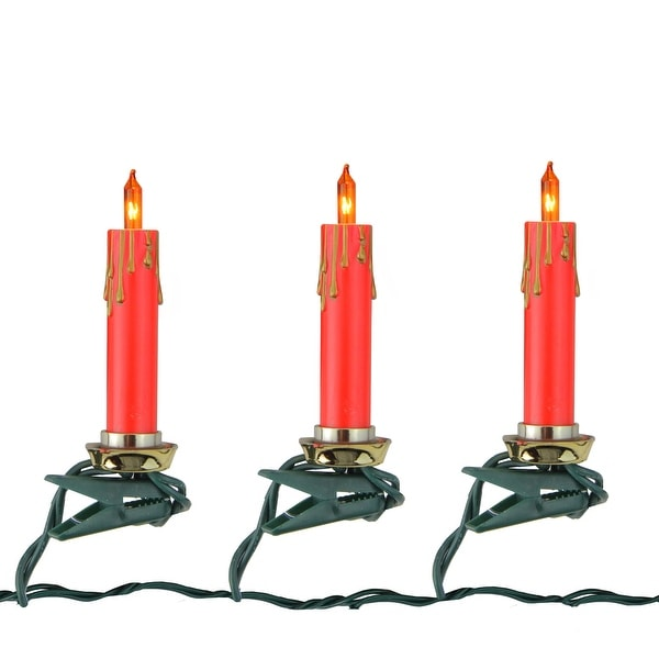Shop Set Of 10 Clip On Red And Gold Candle Christmas
