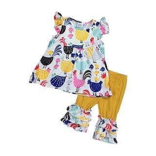 Sleeveless Chicken Print Top Shorts Set for Little Girl Yellow 501558