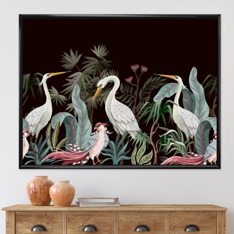 Designart 'Chinoiserie With Birds and Peonies III' Traditional Framed Canvas Wall Art Print