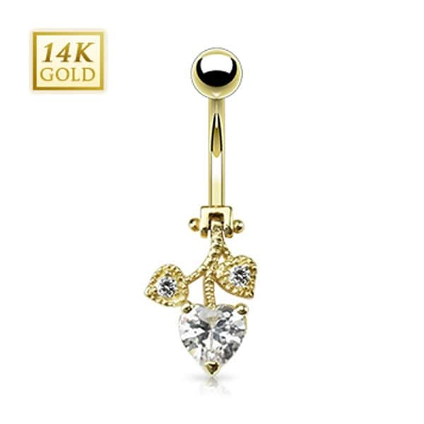 """14 Karat Solid Yellow Gold Heart CZ Leaflet Hinged Navel Belly Button Ring - 14GA 3/8"""" Long"""