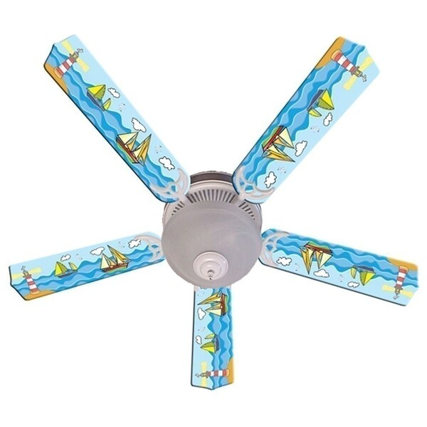 Sail Boats on the Sea Designer 52in Ceiling Fan Blades Set - Multi