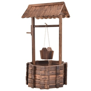 Link to Outdoor Wooden Wishing Well Planter Bucket - Brown Similar Items in Gardening