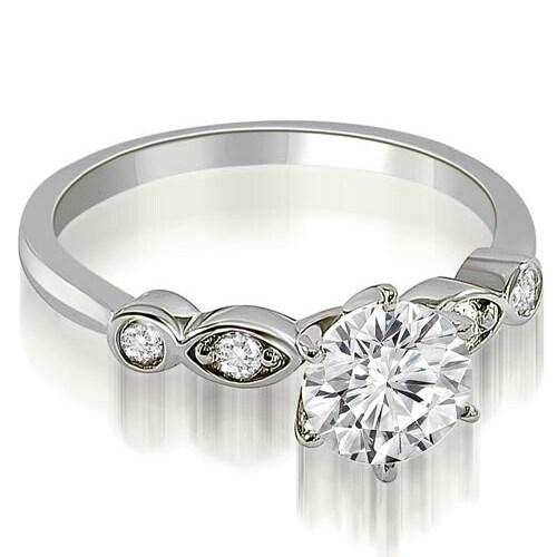 0.62 cttw. 14K White Gold Vintage Style Round Cut Diamond Engagement Ring