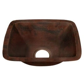 "Miseno MC-NA200 Rectangular 12"" Copper Drop-In or Undermount Bar Sink - hand-hammered antique copper"
