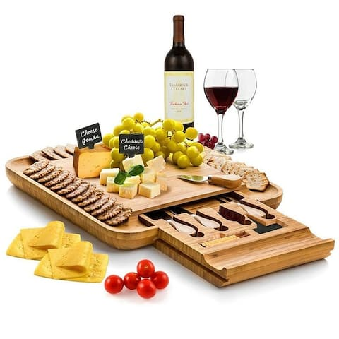 """Bamboo Cheese Board & Cutlery Set with 4 Knives in Slide-out Drawer - 13.5"""""""
