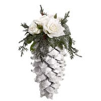 "9.5"" Snow Drift Large Glittered Pine Cone with Roses Christmas Ornament"