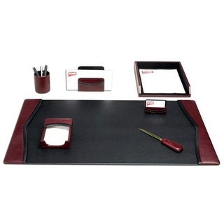 Dacasso D7004 Burgundy Leather 7-Piece Desk Set