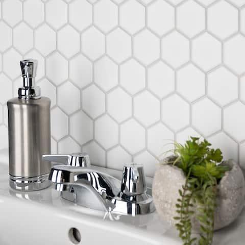 "SomerTile Metro Hex 2"" Matte White 10.5"" x 11"" Porcelain Mosaic Tile"