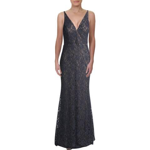 Betsy & Adam Womens Evening Dress Lace Glitter - Steel/Nude