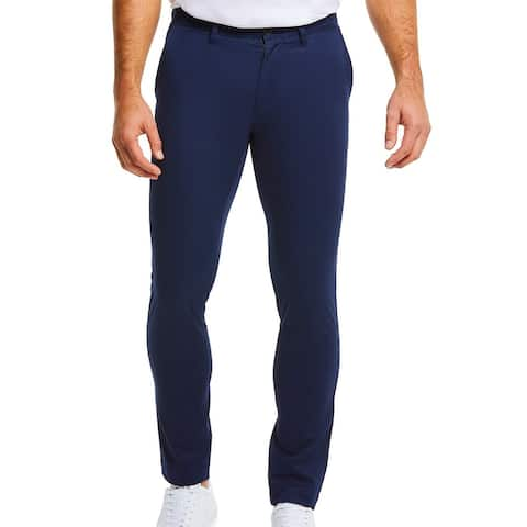 Lacoste Mens Chino Pants Navy Blue US 38x32 FR 48 Regular Fit Flat Front