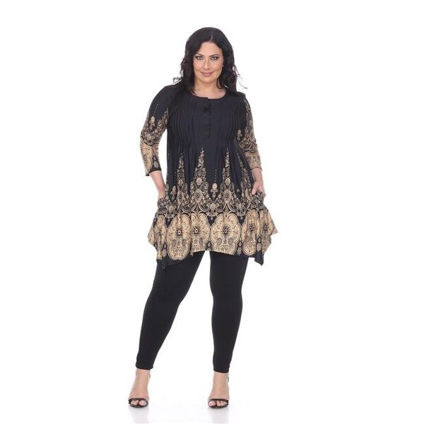 3f4c70ae407d9f Shop PS1326-45-1XL Womens Plus Size Dulce Tunic Top, Black & Beige - - Free  Shipping On Orders Over $45 - Overstock.com - 22958980
