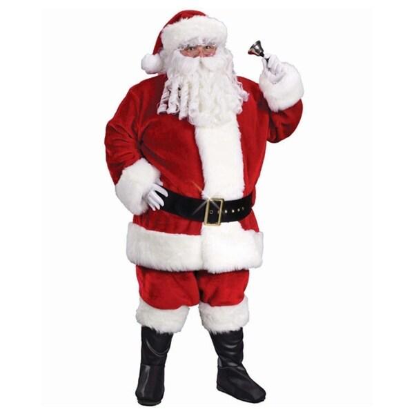 6-Piece Regency Plush Santa Claus Christmas Suit Costume - Adult Size 58-60 - RED