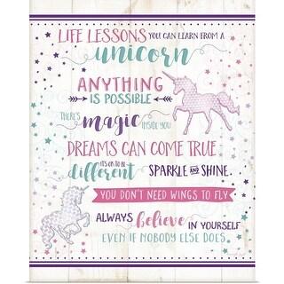 Jennifer Pugh Poster Print entitled Life Lessons Unicorn - multi-color