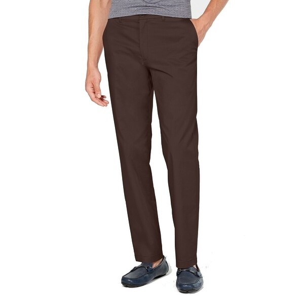 Alfani Mens Brown Size 38x32 Classic Fit Flat Front Chino Stretch. Opens flyout.