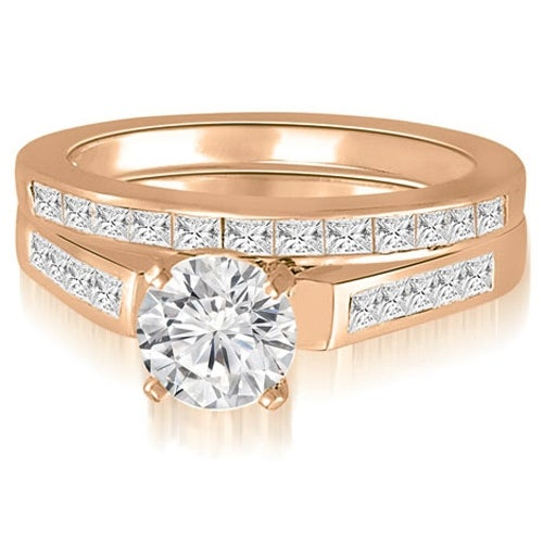 2.10 cttw. 14K Rose Gold Round And Princess Cathedral Diamond Bridal Set