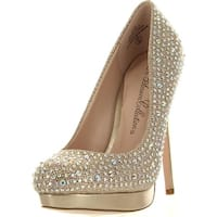 De Blossom Collection Womens Jennifer-3 Round Toe Slip On Sparkle Stiletto Heel Platform Pump - Nude