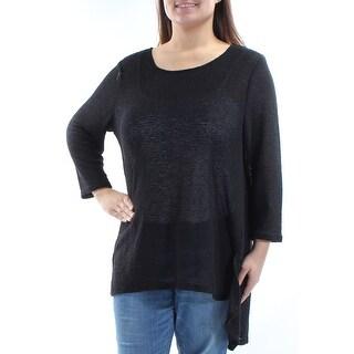 Womens Black 3/4 Sleeve Jewel Neck Casual Hi-Lo Sweater Size XXL
