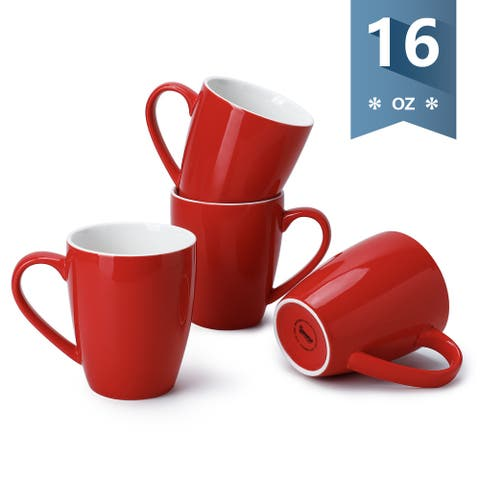 Sweese 16 Ounce Red Porcelain Coffee Mugs Set of 4