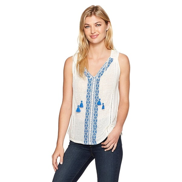 740d6e48f0dd4 Shop Lucky Brand Embroidered Sleeveless Tank Top Marshmallow - Free  Shipping On Orders Over  45 - Overstock - 22994900