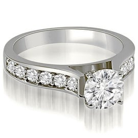 1.35 cttw. 14K White Gold Cathedral Round Cut Diamond Engagement Ring