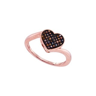 10kt Rose Gold Womens Round Red Colored Diamond Heart Love Fashion Ring 1/10 Cttw