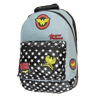 Official Wonder Woman Denim Backpack w/ Patches Comic Book Superhero Goddess