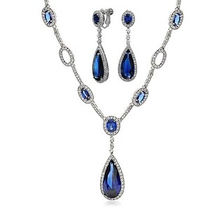 Bling Jewelry Blue CZ Teardrop Bridal Set Rhodium Plated
