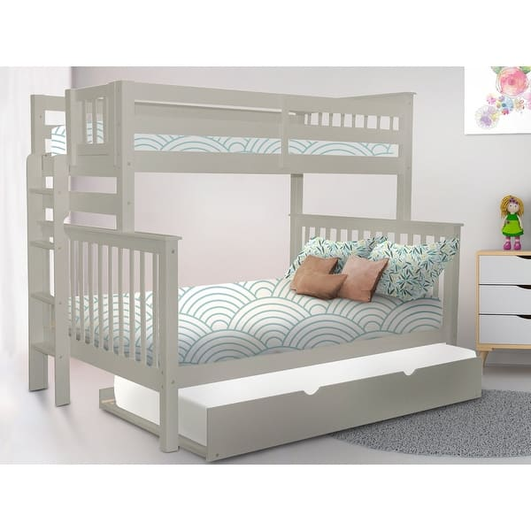 Taylor Olive Trillium Grey Wood Twin Over Full Bunk Bed With Twin Trundle Sale