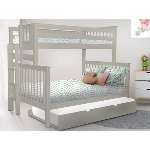 Taylor & Olive Trillium Grey Wood Twin-over-Full Bunk Bed with Twin Trundle