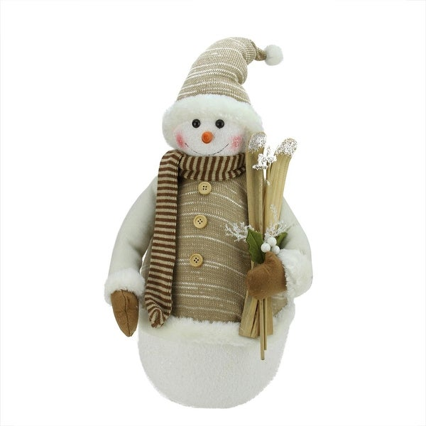 "20"" Alpine Chic Brown and Beige Snowman with Skiis and Mistletoe Christmas Decoration - WHITE"