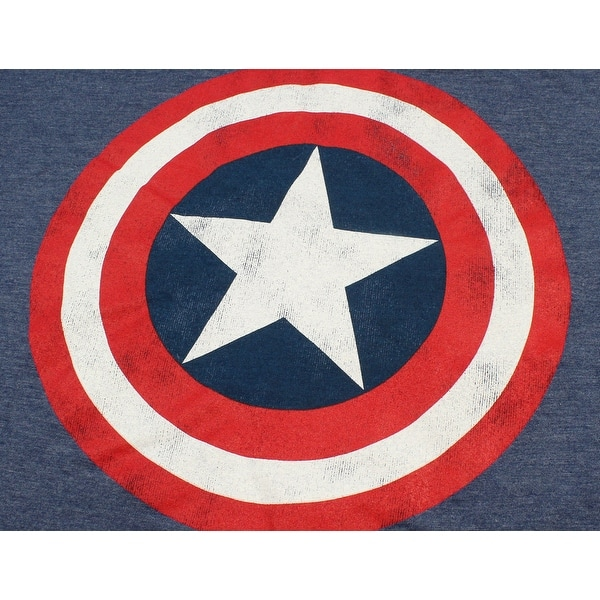 Mens Avengers Distressed Captain America Logo T-Shirt Crew Neck Marvel Comics