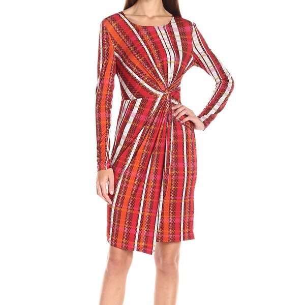 965f79e62e696 Catherine Malandrino NEW Red Print Faux-Wrap Medium M Sheath Dress