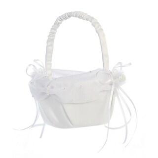 White Pearled Organza Trim Satin Flower Girl Basket