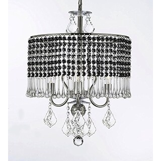 3-light Chandelier With Black Crystal Shade