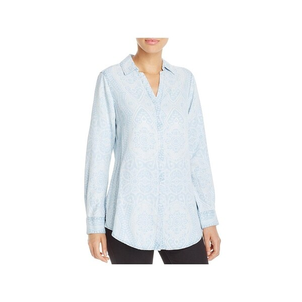 Foxcroft NYC Womens Button-Down Top Chambray Printed