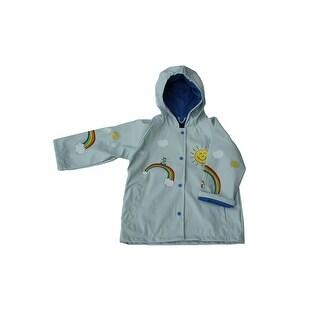 Foxfire Girls Light Blue Multi Color Rainbow Print Hooded Rain Coat