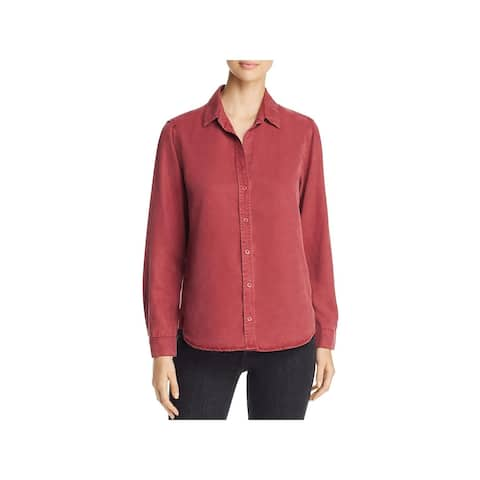 Side Stitch Womens Button-Down Top Tencel Hi-Low