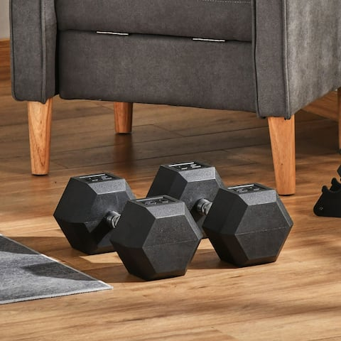 Soozier 100lbs Rubber Dumbbells Weight Set 50lbs/Single Dumbbell Hand Weight Barbell for Body Fitness Training for Home Office