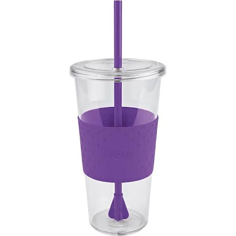 Copco Sierra Cold Tumbler To Go Cup with Straw 24 Ounce, Purple