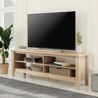 """Link to Wampat Farmhouse Wood TV Stands for 65"""" Flat Screen, Media Console Storage Cabinet,Oak Entertainment Center,Oak - 59"""" Similar Items in TV Consoles"""