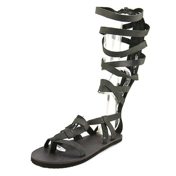 Free People Cynder Women Open Toe Leather Black Gladiator Sandal