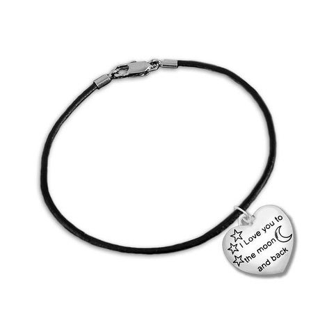 """I Love You To The Moon And Back"" Black Cord Bracelet"