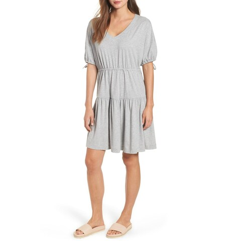 Caslon Women's Short Sleeve Gathered Tie Shift Dress